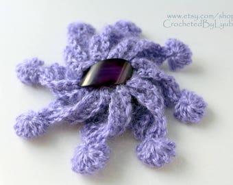 Crochet Brooch, Lavender Mohair Flower Brooch, Crochet Jewelry, Unique Crochet Large 3d Flower, Hand Crocheted Gift For Women, Ready to Ship