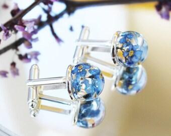 Forget-me-not Flowers Cufflinks Real flowers jewelry Unique women cufflinks Blue cufflinks for ladies Blue Forget-me-not Cufflinks Terrarium