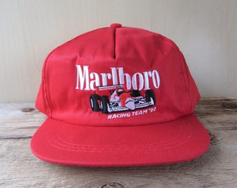 MARLBORO 1992 Racing Team Original Embroidered Vintage 90s Red Snapback Hat Sports Car Promo Vanguard Baseball Cap Adjustable Formula One
