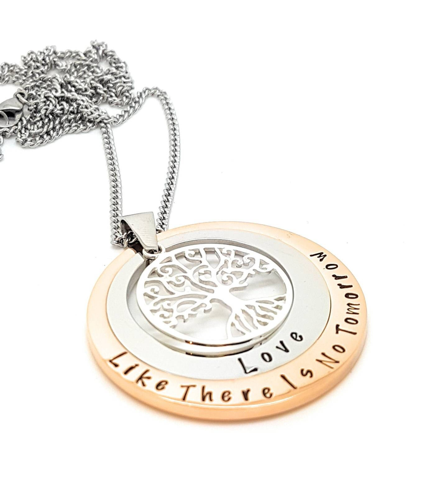 Personalised jewellery personalised necklace family necklace personalised jewellery personalised necklace family necklace layered family names tree of life pendant silver rose gold two circle custom mozeypictures Images