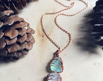 Green Fluorite & Clear Quartz Healing Crystal Necklace ~ Solid Copper ~ healing stone ~ boho ~ gypsy ~ hippie