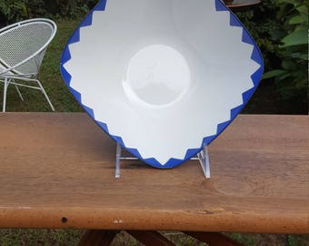 Rare Cathrineholm Blue on White Pyramid Bowl