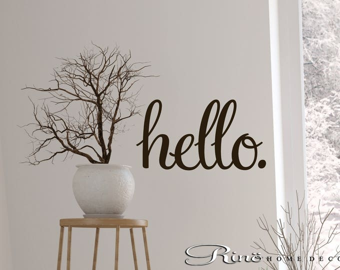 Hello door wall quote - hello porch decal - vinyl lettering sticker home decor wall saying