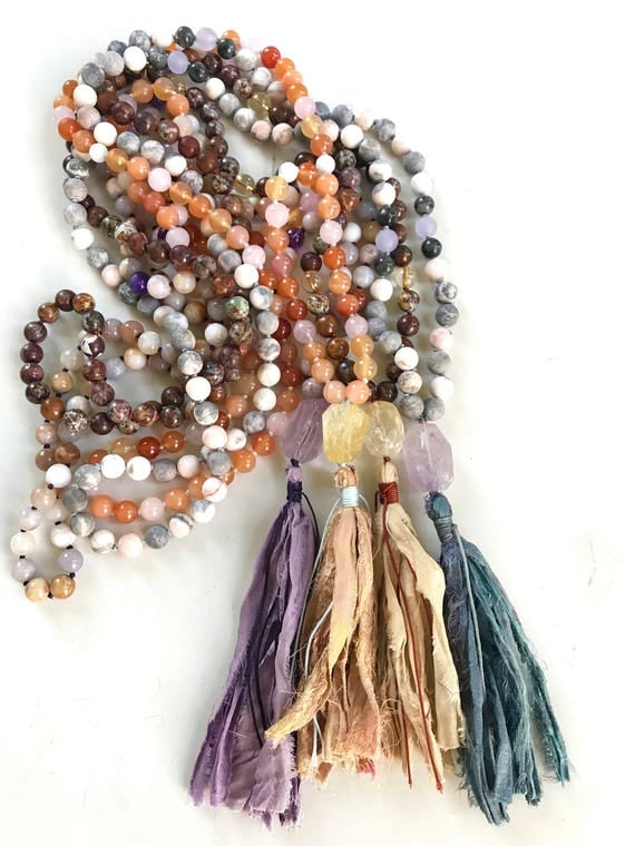 Add A Sari Silk Tassel To Your Mala Beads, Unique Mala Necklace, Add A Sari Silk Tassel To Any Mala, Yoga Mala Beads