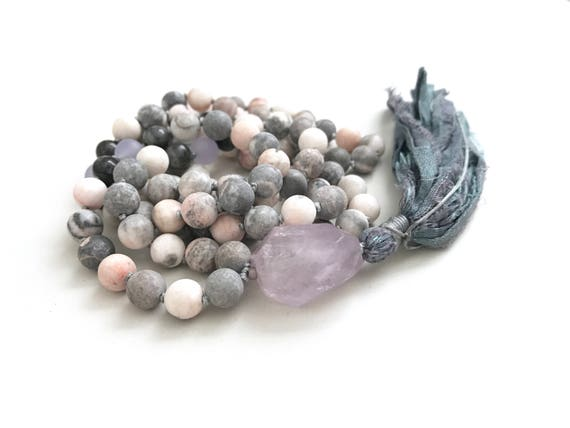 Knotted Jasper Mala Beads, Pink Zebra Jasper Mala Necklace, 108 Beads Mala With Labradorite, Amethyst And Jade, Hand Knotted Tassel Mala