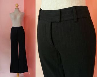 Calvin Klein Pants Vintage Pants Womens Pants Black Pants Bell Bottom Pants Wool Pants Low Waist Pants Work Pants Long Pants