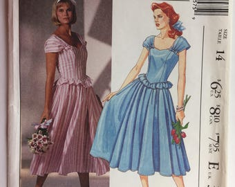 Vintage McCall's 3557 Laura Ashley Misses' Dress Shaped Bodice Gathered Skirt Size 14 Dated 1980's Uncut