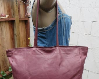 On Sale Burgundy Leather Tote Shopper 70s 80s Vintage Satchel Book Bag Carry All 1970s 1980s Made in USA