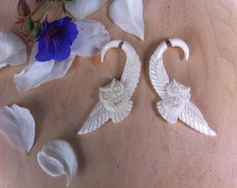 Owl Fake Gauge Earrings, Owl Earrings