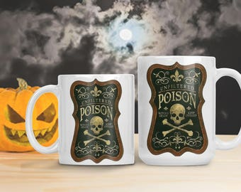 Halloween Poison Mug, Skull and Crossbones Poisonous Cup, Halloween Decoration, Halloween Potion Mug, Halloween Death Potion Cup, Poisonous