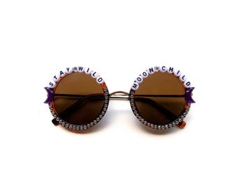 Stay Wild Moon Child decorated sunglasses, groovy embellished sunnies perfect for music festivals, Coachella, Bonnaroo
