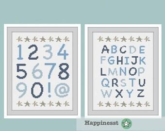 set of 2 modern cross stitch pattern, numbers & ABC, Alphabet, nautic, kids room, PDF pattern ** instant download**