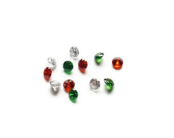 Christmas Holiday Stardust Crystal Mix -12-Pack-Green, Clear, & Red Cubic Zirconia-2.8mm
