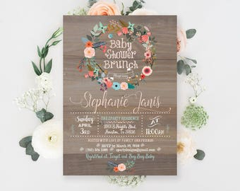 Vintage Wood Baby Shower Brunch Invitation, Wreath Baby Shower Brunch Invite,  Brunch Shower Invitation