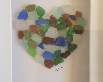 sea glass mosaic love heart, seaglass art, valentines gift, Scottish sea glass heart