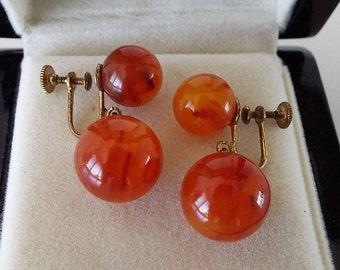 Vintage 1940's Butterscotch Amber Bakelite Screw Back Earrings Dangle Drop Art Deco Glamour