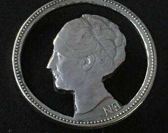Antique Silver Coin Brooch Netherlands Dutch Queen Wilhelmina Cameo Cut Out