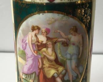 Antique Beehive Stamped Austria Angelica Kaufmann Royal Vienna Style Vase