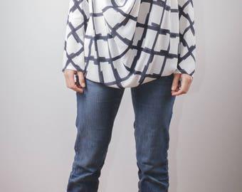 drape tunic/ modern tunic/ lose fit tunic/ drape blouse