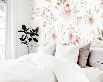 Watercolor Mural Floral #1 Removable Wallpaper, Wall Mural, Peel And Stick,  Floral Part 62