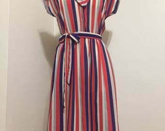 Vintage striped dress with tie belt