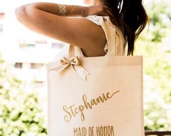 Bridesmaid Tote Bag Gold Bridesmaid Gift Bag Personalized Bridesmaid Gift Bag Monogrammed Bridal Party Tote Bag