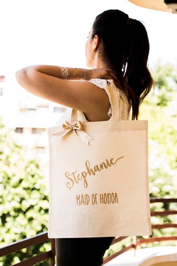 Bridesmaid Tote Bag Gold Bridesmaid Bag Personalized Bridesmaid Gift Bag Monogrammed Bridal Party Tote Bag