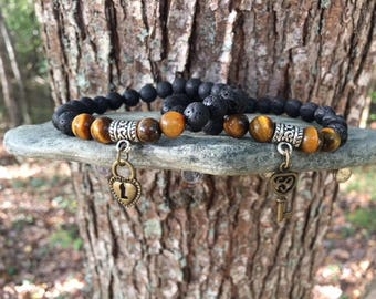 Couples Bracelet, Couples Gift, Couples Bracelet His and Her, Matching Bracelet, Lava Stone, Tigers Eye, Heart Lock & Key, CP-1