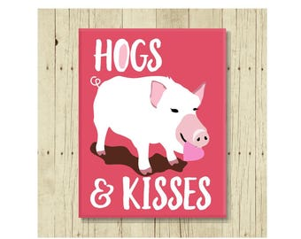 Hogs and Kisses Magnet, Funny Magent, Refrigerator Magnet, Cute Fridge Magnet, Gift Under 10, Small Gift, Pig Lover, Pig Art, Funny Pig
