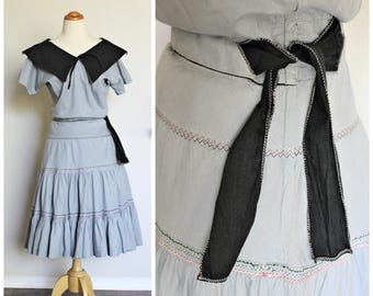 Vintage 40's 50's Steel Blue Gray Sailor Collar Cotton Patio Dress Pinup \ Small Medium \ 38 inch Chest