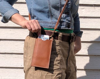 The MIA Phone Wallet, Leather Travel Phone Case, Minimalist Cell Phone Wallet Purse, Cross body Phone Case Purse, Sling Bag, Made in USA