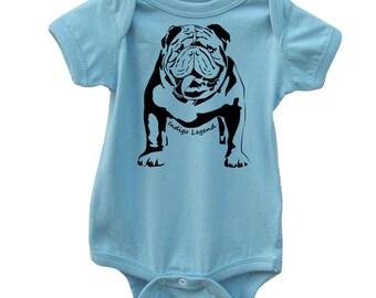 English bulldog onesie. Bulldog bodysuit lap-shoulder, creeper, Dog baby clothes.