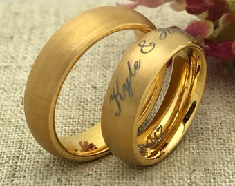 6mm Personalize Engrave Gold IP Plated Tungsten Ring, His & Hers Wedding Rings, Wedding Rings, Promise Ring, Couples Ring,