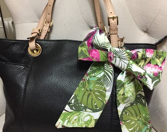 Tropical Floral Bag Bow | Diaper Bag Bow | Leaf Diaper Bag Bow | Tropical Purse Bow | Purse Bow | Purse Charm | Bag Charm | Purse Accessory
