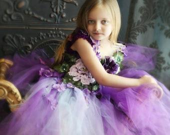 Purple passion embroidered flower girl dress, 3D flower dress, fairy costume dress,birthday dress, national pageant gown, purple tutu dress