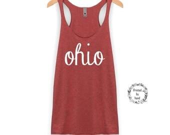 Ohio Tank   Ohio Shirt - Ohio Script - Racerback Tank