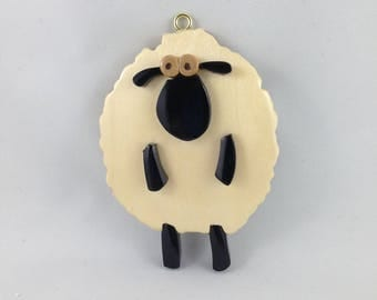 Wooden White Whimsical Sheep