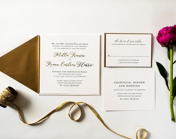 millie gold foil wedding invitation sample set // rose gold foil / silver foil / modern simple custom calligraphy romantic invite