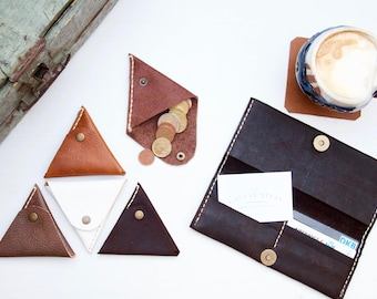 Leather coin purse // Handmade leather coin purse pouch
