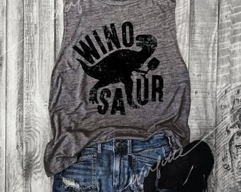 Winosaur Muscle Tee in Asphalt/Black Workout Top, Muscle Tank