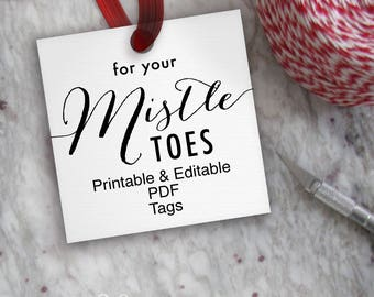 For Your Mistle Toes Tags // Printable Editable Christmas Tag // Mistletoes Tag Template // DIY Digital PDF // Square 2x2 Nail Manicure Tags
