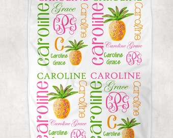Personalized Pineapple Baby Blanket ~ Beach Blanket ~ Tropical Blanket~ Monogram Blanket ~ Photo Prop ~ Beach Blanket ~ Name Blanket