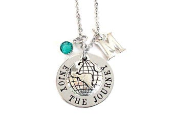 Travel Necklace Jewelry Gift Hand Stamped Stainless Steel Necklace Jewelry Birthstone Included World Globe Charm Enjoy The Journey