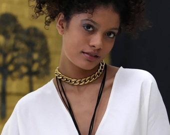 Bronze chain  choker necklace, body chain , body jewelry, chain necklace, chain choker