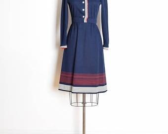 vintage 60s dress, 60s secretary dress, navy white red, 60s clothing, ruffle dress, 60s midi dress, navy blue dress, victorian dress S small