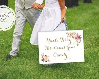 Printable Here Comes the Bride sign, Bohemian gold wedding floral sign printable, and they lived happily ever after sign, The Mia collection