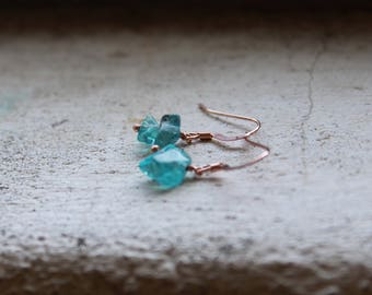 ROSE gold Apatite Earrings rough stone earrings tiny gemstone earrings blue semi precious earrings green apatite jewelry rose gold filled