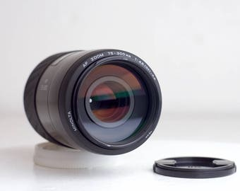 Minolta Maxxum AF Zoom 75-300 mm F/4.5-5.6 Macro Focusing Zoom Lens For Minolta and Sony A Mount with Lens Caps
