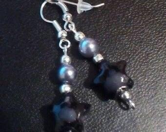 Punk Rock Emo Black Star earrings