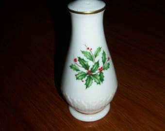 Vintage Lenox Holiday Fine China  (Dimension shape) Gold Pepper Shaker with 3 Holes and Sculpted Holly Base- Holly and Berries Design